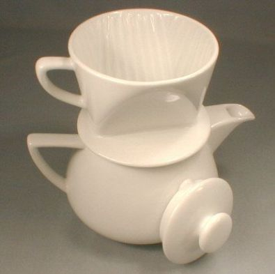 2-Cup White Porcelain Filter Drip Coffee Maker