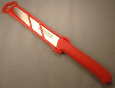 Serrated Tomato Knife, 4 in., Red Sheathed