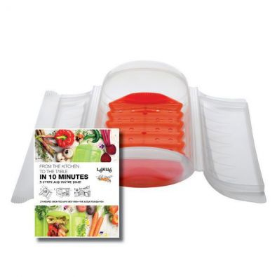 Lekue Small Microwave Steam Case with Tray, 22 Oz ,Clear