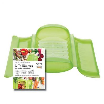 Lekue Large Microwave Steam Case with Tray, 1 Qt, Green