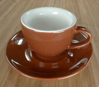 Espresso Cups & Saucers, Set of 6, Brown and White