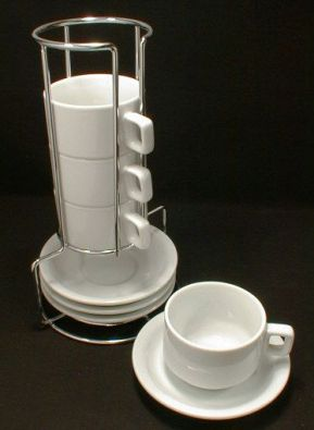 Stackable Porcelain Demitasse Set, 8 Piece with Stand