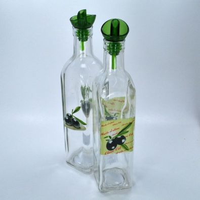 Olive Medley Square Glass Bottle With Pourer 16-Oz